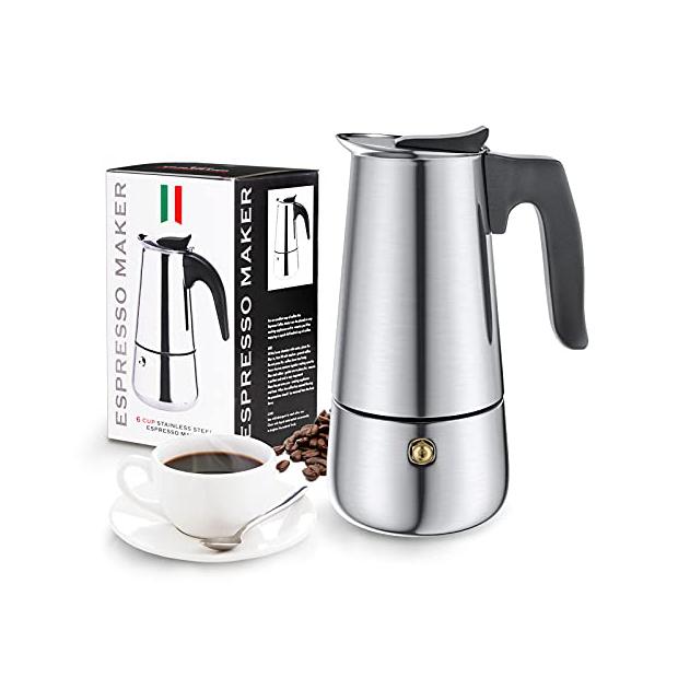 Cafeteras italianas de acero inoxidable para 3 tazas
