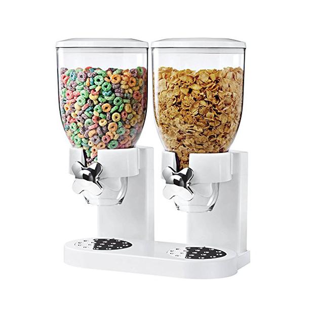 Dispensadores de cereales dobles blancos