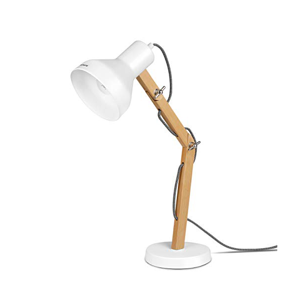 Lámparas de mesa blancas y madera