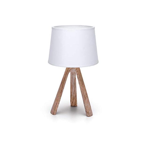 Lámparas para mesita de noche blancas y madera