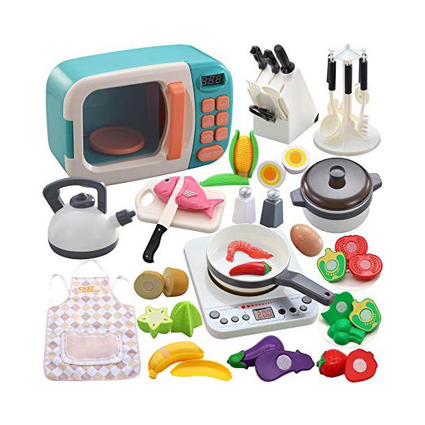 Microondas y utensilios para cocinar