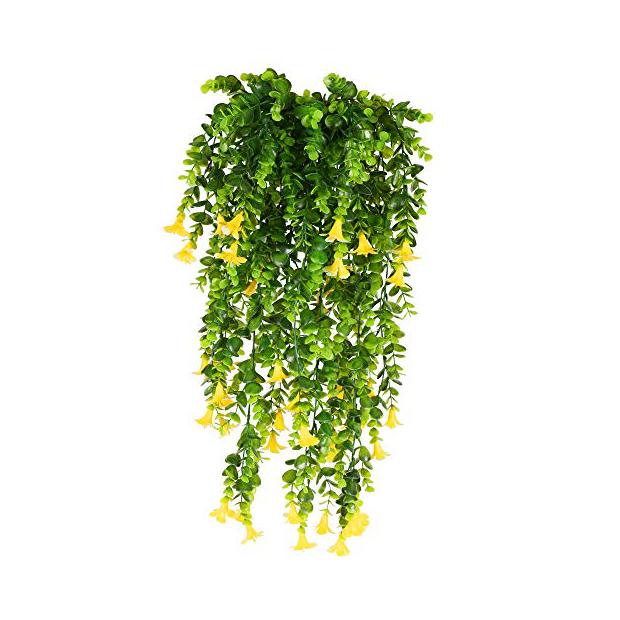 Plantas artificiales colgantes con flores