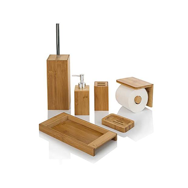 Portarrollos de baño de bambu